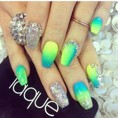 Yellow green and blue nails