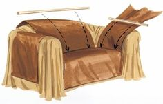 How to make a no-sew couch cover! Rad. I don't have a sewing machine so this way I can make our Craigslist couches look nice! I bet I could do the cover in pink and drapes dark brown...