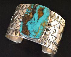 Native Navajo Sterling Silver Pilot Mtn Turquoise Rug Design Cuff Bracelet