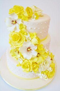 Wedding Cakes New Jersey - Cascade of Sugar Flowers Cutom Cakes