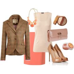 Spring business formal work outfit. Tweed and coral.