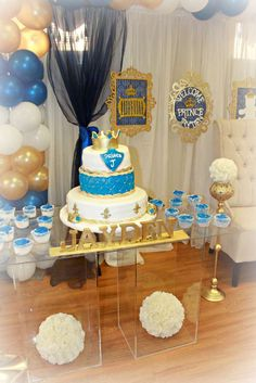 Pretty cake at a prince baby shower party! See more party ideas at CatchMyParty.com!