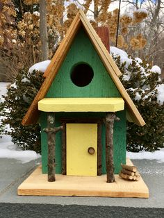 Adorable Handcrafted Birdhouse. Handmade. Hand painted.