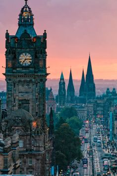 Princes Street with Balmoral Hotel Clock, Edinburgh, Scotland