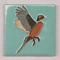 Richard E. Bishop Signed Pheasant Tile