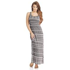Womens Scoop Neck Sleeveless Racerback Tribal Print Summer Tank Maxi Dress >>> You can find more details by visiting the image link.