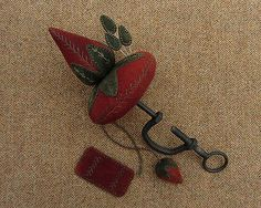 Primitive Hand Dyed Wool Strawberry Emery Pincushion Table Clamp Pinkeep Fob | eBay