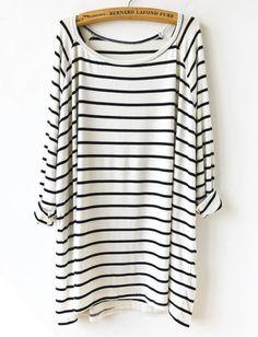 White Black Striped Loose T-Shirt