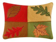 Oak Ridge Stripes Applique Cotton Lumbar Pillow
