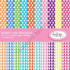 Hearts and triangles digital papers from Lilmade Designs on TeachersNotebook.com (20 pages)  - Beautiful set of 20 digital papers featuring hearts and triangle patterns in rainbow bright colors.