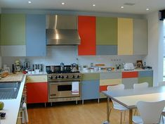 Versatile modular cabinets-- I like the legs (would need to be metal), color blocking in general-- would not consider if backsplash is multicolored.