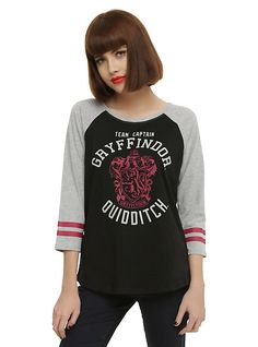 Harry Potter Gryffindor Quidditch Team Captain Girls Raglan,