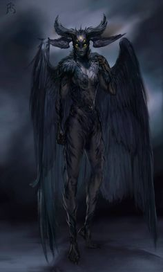 Raven Demon by froxtain on DeviantArt Dark Creatures, Mythical Creatures Art, Night Creatures, Fantasy Monster, Monster Art, Monster Concept Art, Arte Horror, Horror Art, Dark Fantasy Art