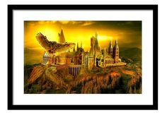 Golden owl, Hogwarts poster, Hogwarts starry night, Harry potter art, hogwarts castle, Hogwarts painting, Harry Potter painting