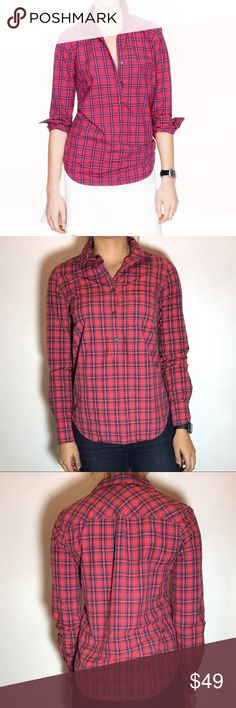 J. Crew Red Tartan Popover J. Crew Red Tartan Popover -Size 0. -100% Cotton. -Like new!  NO Trades. Please make all offers through offer button. J. Crew Tops Button Down Shirts