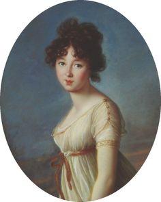 Soft, fluffy hairstyle. Portrait of Aniela Radziwiłł by (missing artist), 1790's-1800's Poland, Nieborów Palace