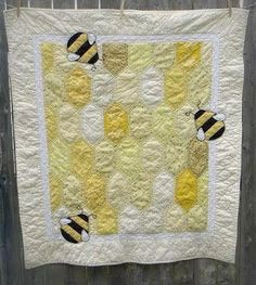 bumble bee quilt | Bumble Bee Baby Quilt by hafenwood on Etsy | Quilting