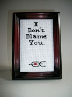 hehehe Portal turret quote don't blame cross stitch by FunWithNeedles, $30.00