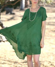 Look at this Ananda's Collection Green Embroidered Scoop Neck Dress on #zulily today!