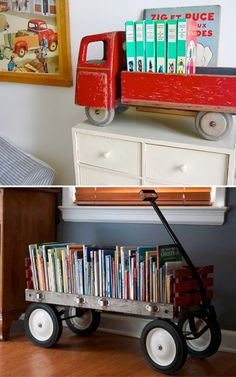 Love the old wagon for grandchildren's books!