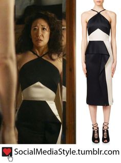 "Eve (Sandra Oh)'s black and white dress from Killing Eve Special Request: ""Do you know where I can get the black and white dress from Killing Eve?"" That is the Roland Mouret Bartlow Dress. You can buy. Sandra Oh, Style Eve, Eve Costume, Costumes, Deconstruction Fashion, Flamboyant, Dressed To The Nines, Fashion Tv, Pretty Outfits"