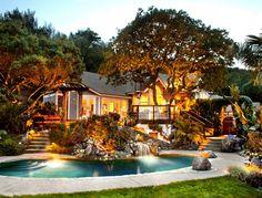 Backyard Design Ideas. Pool #Pool #Backyard #Landscape Lighting