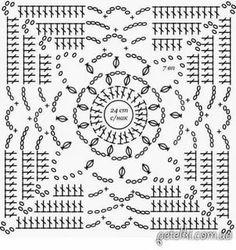 Crochet Squares, Crochet Motif Patterns, Crochet Blocks, Granny Square Crochet Pattern, Crochet Diagram, Crochet Chart, Crochet Granny, Irish Crochet, Granny Squares