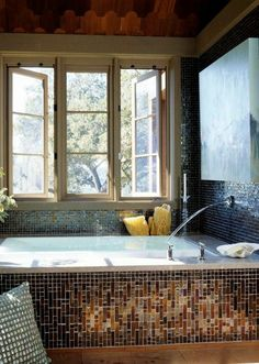 Gorgeous tile work in this bathroom.  Love it. - Style Estate -