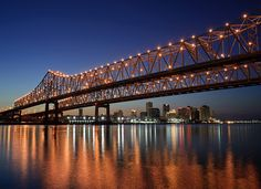 Crescent City Connection - Twin Spans over the Mississippi River New Orleans Louisiana from Algiers