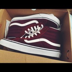Maroon Sk8 Hi Vans Maroon Sk8 Hi Vans   ONLY worn once   Good Condition   Offer Friendly   Dye from shoes got on shoe laces nothing that can't be washed. Vans Shoes Sneakers