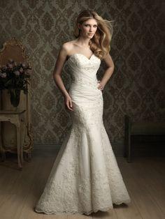 Trumpet/Mermaid Sweetheart Embroidery Beading Satin Chapel Train Wedding Dress