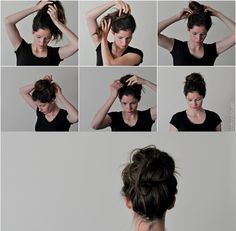 how to do a messy bun with shoulder length hair - Google Search