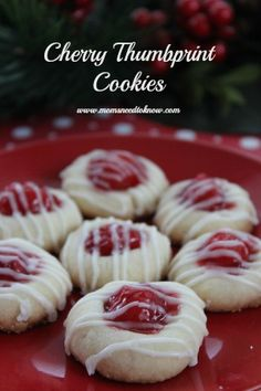 A classic on any cookie tray is always thumbprint cookies. This Cherry Thumbprint Cookie recipe is yet another easy cookie recipe to make with the kids. Using cherry pie filling will give the cookies just enough moisture to make them irresistible! Cookies Receta, Yummy Cookies, Eggnog Cookies, Thumbprint Cookies Recipe, Holiday Cookies, Easy To Make Christmas Cookies, Italian Christmas Cookies, Christmas Cooking, Christmas Desserts