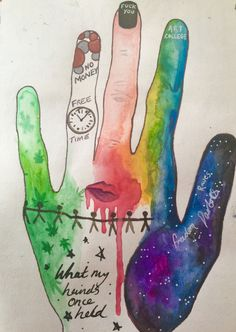 What my hands held past, art therapy activity by michelle morgan, michelle morgan art, mixed media art