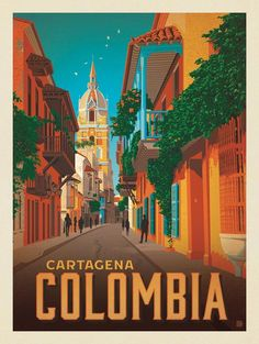Vintage Travel Anderson Design Group – World Travel – Colombia: Cartagena - Art Deco Posters, Vintage Travel Posters, Vintage Postcards, Poster Prints, Vintage Airline, Art Print, Hsl Color, Foto Poster, Gig Poster