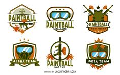 Set of paintball badges and labels featuring masks, guns, paint splatters and…