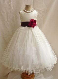 Flower Girl Dresses - IVORY with Burgundy (FD0FL) - Wedding Easter Junior Bridesmaid - For Children Toddler Kids Teen Girls on Etsy, $34.99