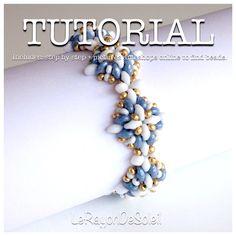 Superduo bead pattern beadweaving tutorial glass beads czech glass beads jewelry tutorial. Rosetones. by LeRayonDeSoleil on Etsy https://www.etsy.com/listing/183217482/superduo-bead-pattern-beadweaving