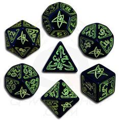 Call of Cthulhu: Black and Green Dice, Set of 7 Q Workshop