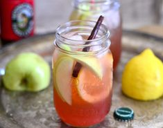 Hard Cider Jack - Hard Cider, Apple Brandy, Whiskey or Bourbon, Lemon Juice, Simple Syrup or Grenadine, Cinnamon Stick, Apple