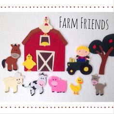 Farm Friends Felt Board Story Set / Flannel Board by set includes 8 farm animals, a farmer, tractor, barn and apple tree - everything needed to create your own fun on the farm! Flannel Board Stories, Felt Board Stories, Felt Stories, Flannel Material, Felt Fairy, Operation Christmas Child, Quiet Books, Imaginative Play, Book Themes