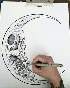 The Fearful Skull on – A R T – Art drawings, Art, Tattoo drawings skull art tattoo - Tattoos And Body Art Tattoo Drawings, Cool Drawings, Body Art Tattoos, Drawing Sketches, Moon Tattoos, Tattoo Art, Pencil Drawings, Skeleton Drawings, Creepy Drawings