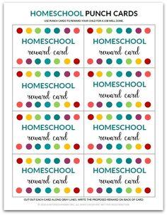PDF: Homeschool Punch Card   Reward Card for Kids