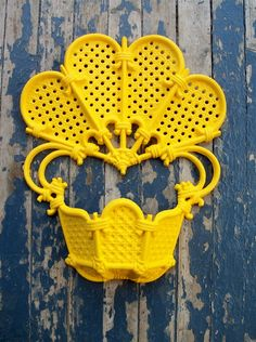 Bright Yellow Shabby Chic Vintage Plastic Wall by DebbieIsAdopted, $16.00