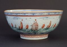 An 18th Century Chinese Export Porcelain Bowl with Dutch Decoration, Qianlong Period c.1740-1750. The Chinese Decoration Consists of Two Diaper Borders with a Central panel of Carved Lotus. The Dutch Decoration of c.1740-1750 is of Various Dutch Sailing Vessels on a Calm Green-Blue Sea. The Vessels are of Differing Sizes and Shape, Some of Which Appear to be Flying the Dutch Flag.
