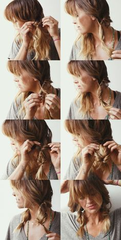 Loopy braids. Easy boho braids for medium length hair that also makes your hair look fuller. High five.
