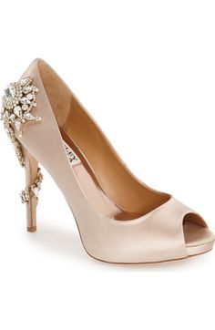 Badgley Mischka 'Royal' Crystal Embellished Peeptoe Pump (Women) available at #Nordstrom