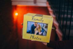 Yellow wooden photo box with 3 photo albums and front photo frame by Cocochnik…