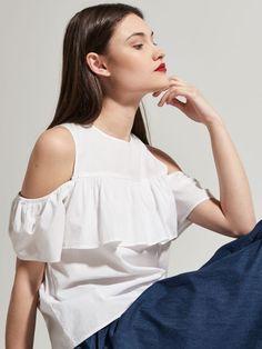 Bluzka cold shoulder z falbaną, HOUSE, QQ624-00X