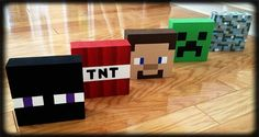 Minecraft, DIY, bedroom decor, Enderman, TNT, Steve, Creeper, Diamond stone. I had old blocks w/ letters on them that my son outgrew, so I painted over them to update the blocks to match his new Minecraft bedroom decor. I used acrylic paints & painted freehand so it's close enough! ;)